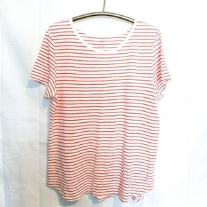 Old Navy Everywear Coral & White Cotton Tee XL